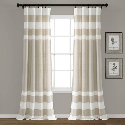 "Set of 2 40""x84"" Cape Cod Stripe Yarn Dyed Cotton Light FilteringWindow Curtain Panels Taupe/White - Lush Décor"