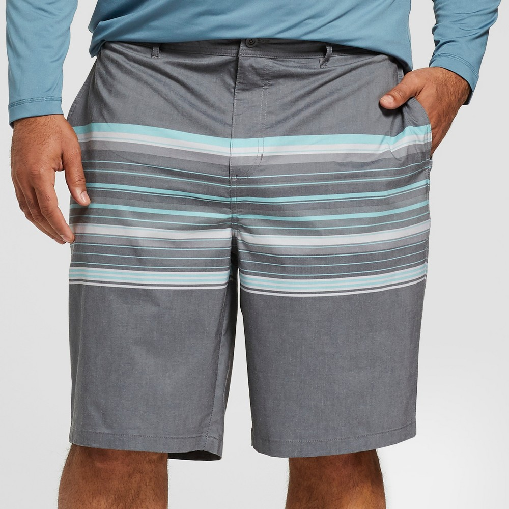 "Image of ""Men's Big & Tall Striped 10.5"""" River Hybrid Swim Shorts - Goodfellow & Co Gray 60, Men's"""