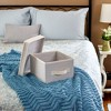Household Essentials Canvas Cube Storage Box Natural Medium - image 2 of 4
