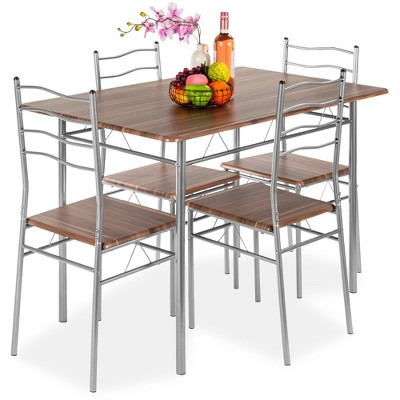 Best Choice Products 5-Piece Wooden Kitchen Table Dining Set w/ Metal Legs, 4 Chairs