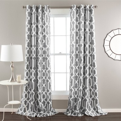 "Set of 2 (84""x52"")Edward Room Darkening Window Curtain Panels Gray - Lush Décor"
