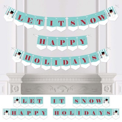Big Dot of Happiness Let It Snow - Snowman - Holiday and Christmas Bunting Banner - Winter Party Decorations - Let It Snow Happy Holidays