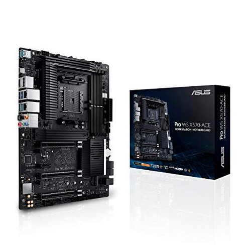 ASUS AMD AM4 Pro WS X570-Ace ATX Workstation Motherboard with 3 PCIe 4.0 X16, Dual Realtek and Intel Gigabit LAN, DDR4 ECC Memory Support, Dual M.2... - image 1 of 1