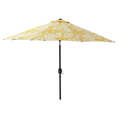 7.5' Outdoor/Indoor Addie Egg Yolk Patio Market Umbrella - Pillow Perfect