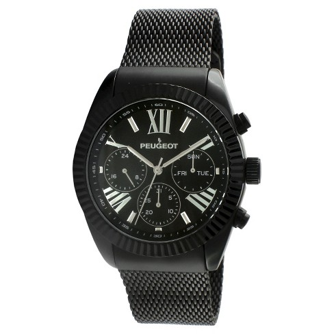 Men's Peugeot Stainless Steel Multifunction Calendar Mesh Watch - Black - image 1 of 2