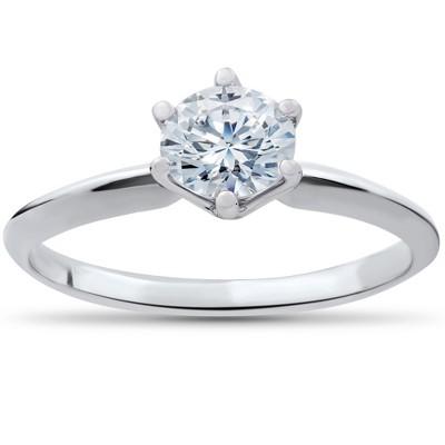 Pompeii3 1/2ct Round Solitaire Diamond Engagement Ring 14k White Gold Enhanced
