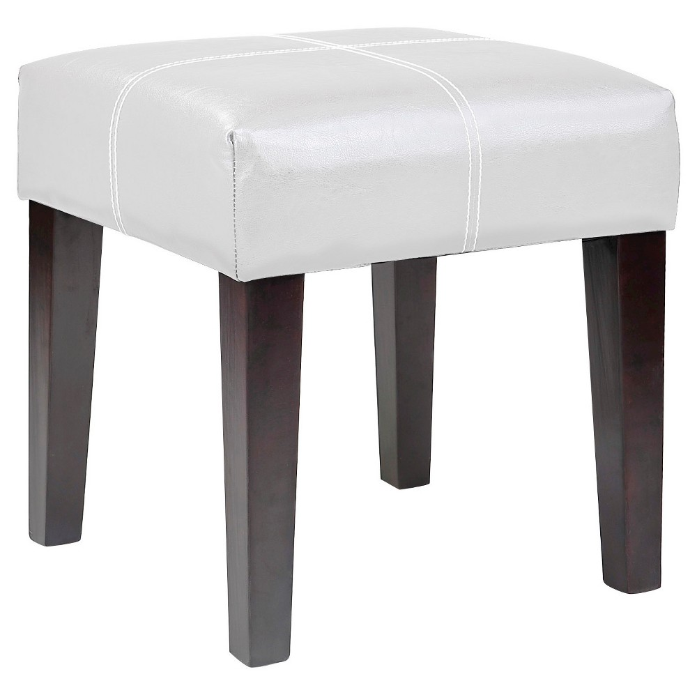 Corliving Antonio 16 Square Bench In White Bonded Leather