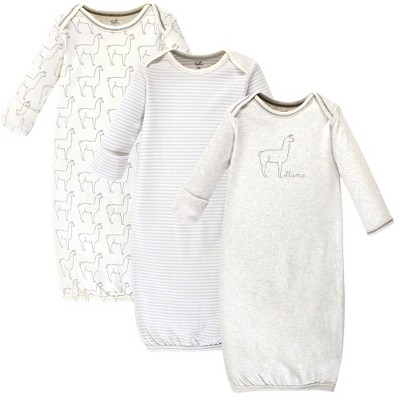 Touched by Nature Baby Organic Cotton Long-Sleeve Gowns 3pk, Llama, 0-6 Months