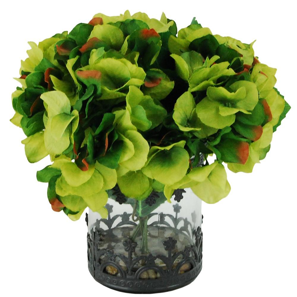 Image of Artificial Hydrangea Arrangement - Green - 1ft - LCG Florals
