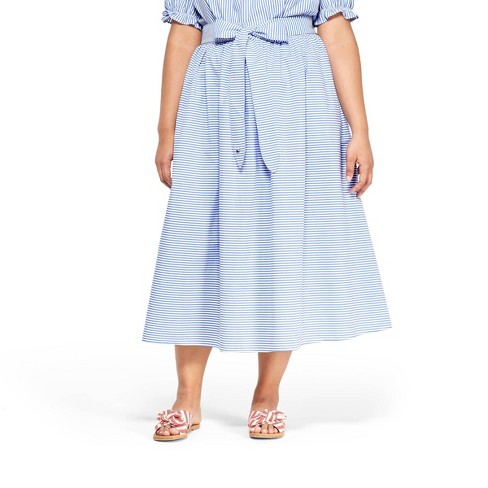 fc331809f6cb7a Women s Plus Size Striped Midi Skirt - Navy White - vineyard vines® for  Target