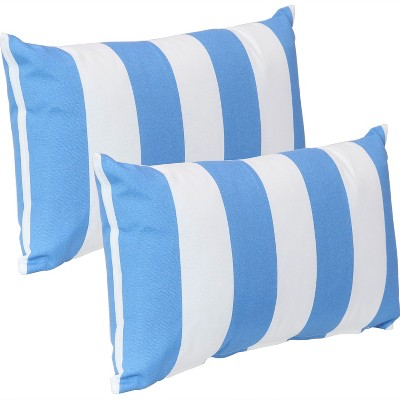 "12"" x 20"" Lumbar Decorative Outdoor Pillow - Set of 2 - Blue Stripe - Sunnydaze Decor"