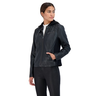 Sebby Collection Women's Faux Leather Racing Jacket with Detachable Cable Knit Hood