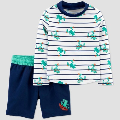 Baby Boys' Frog Stripe Swim Rash Guard Set - Just One You® made by carter's Blue 6M