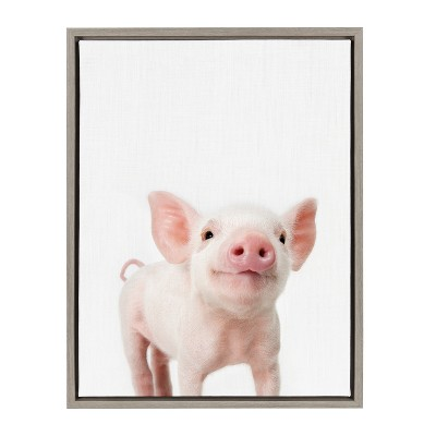 Kate & Laurel 24 x18  Sylvie Baby Piglet Animal Print Portrait By Amy Peterson Framed Wall Canvas Gray