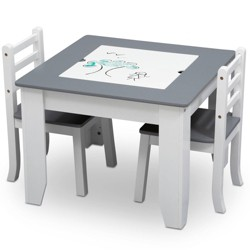 Delta Children Chelsea Wood Table and Chair Set - Gray/White