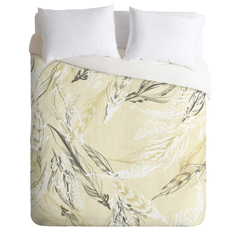 King Pattern State Feather Duvet Set Yellow - Deny Designs