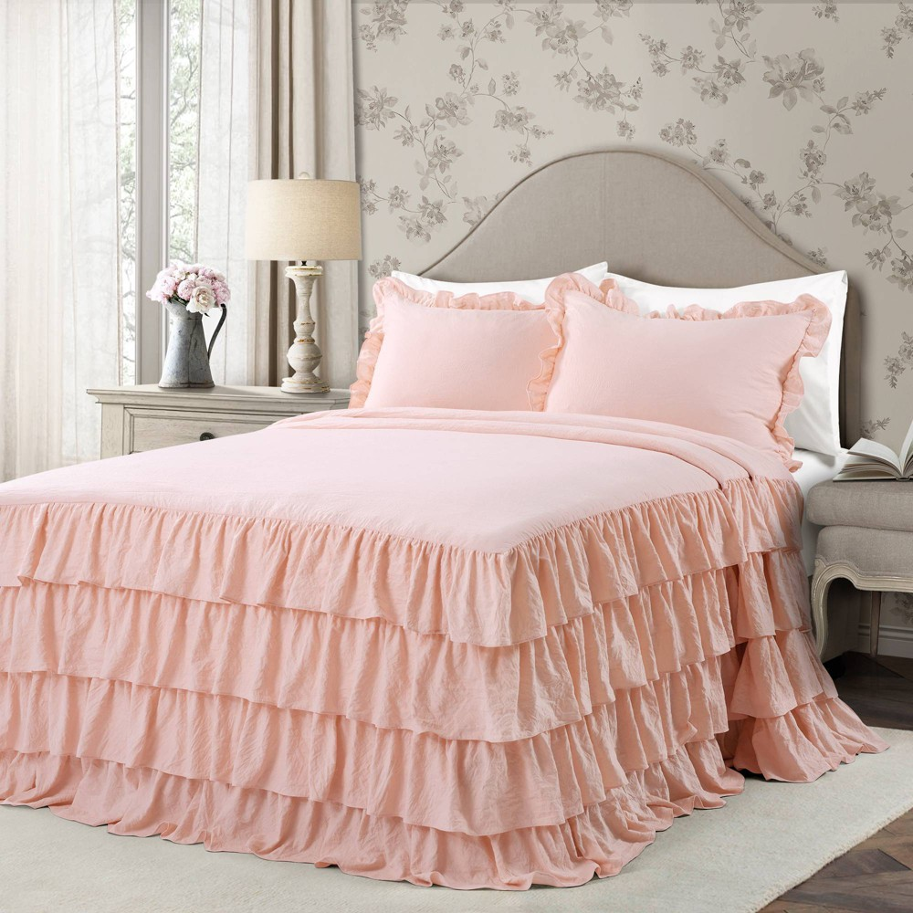 Best Lush Decor King 3pc Allison Ruffle Skirt Bedspread Set Blush