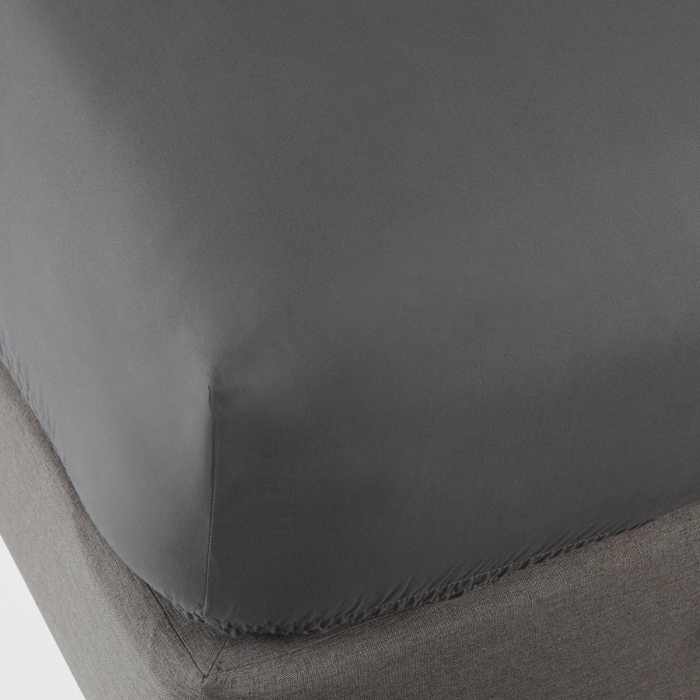Queen 300 Thread Count Ultra Soft Fitted Sheet Radiant Gray - Threshold Cheap