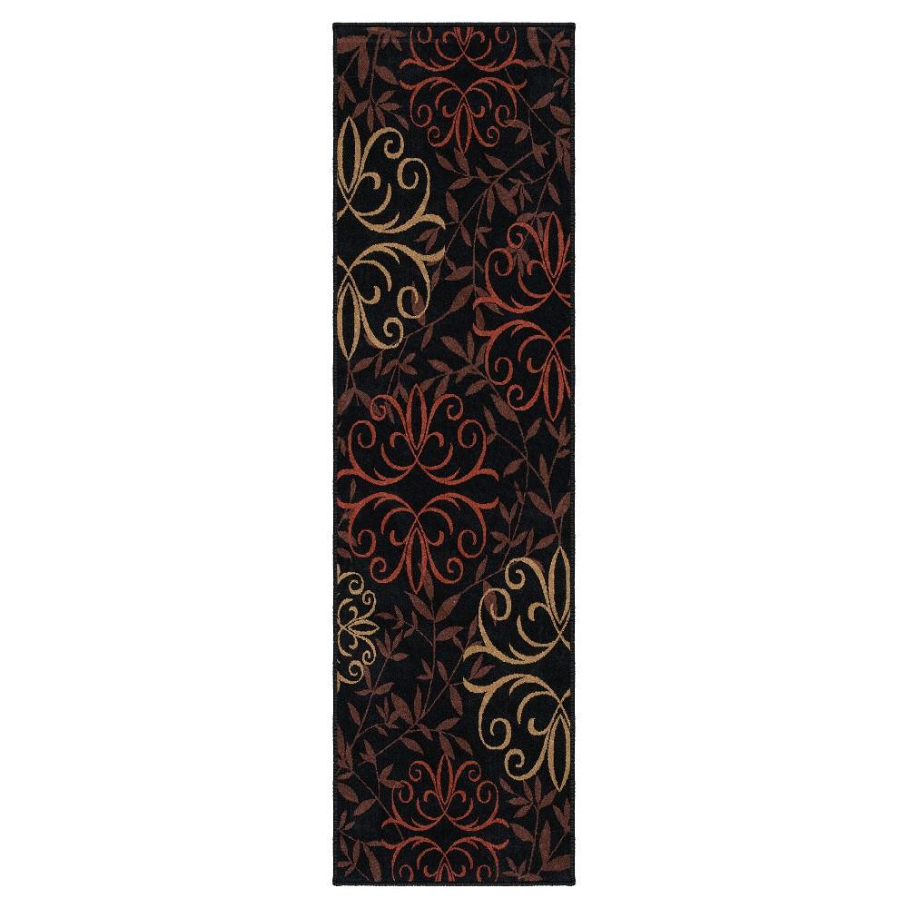 Orian Rugs Fleur Medallions Napa Indoor/Outdoor Area Rug - Black (2'3 x 8')