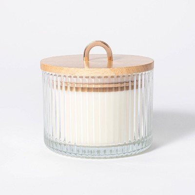 13oz Wood Lidded Ribbed Glass 3-Wick Masala Rose Candle - Threshold™ designed with Studio McGee