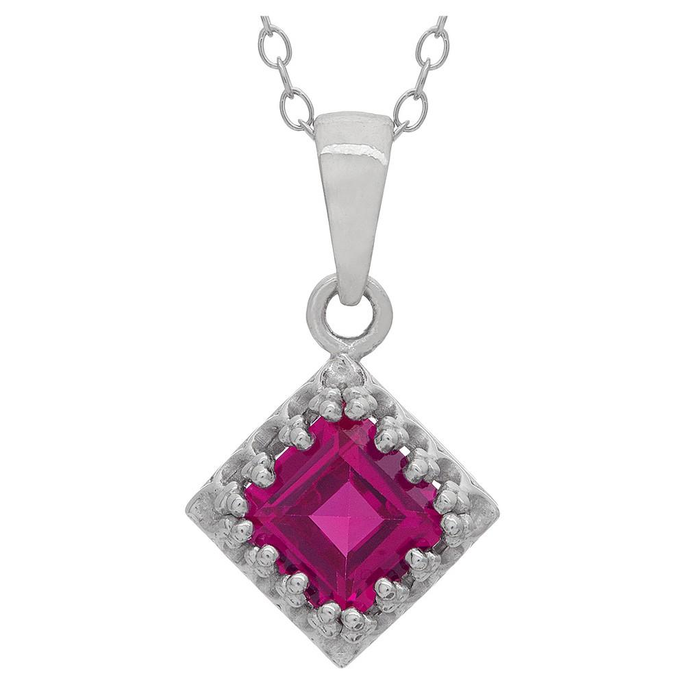 1 1/4 Tcw Tiara Ruby Crown Pendant in Sterling Silver