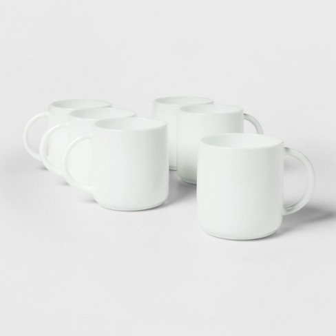 Glass Stackable Mugs 12.5oz White Set of 6  - Made By Design™ - image 1 of 2