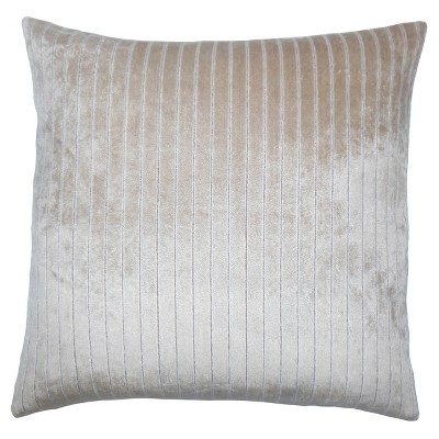 """Beige Ticking Square Throw Pillow (20""""x20"""") - The Pillow Collection"""