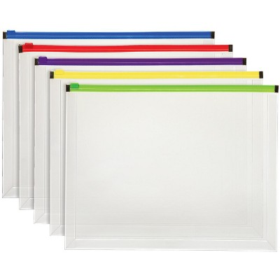 Pendaflex Poly Zip Envelope, Letter Size, Assorted Colors, pk of 5