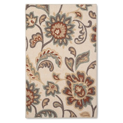 "2'6""X3'10""/30""X46"" Paisley Floral Accent Rug Tan - Maples"
