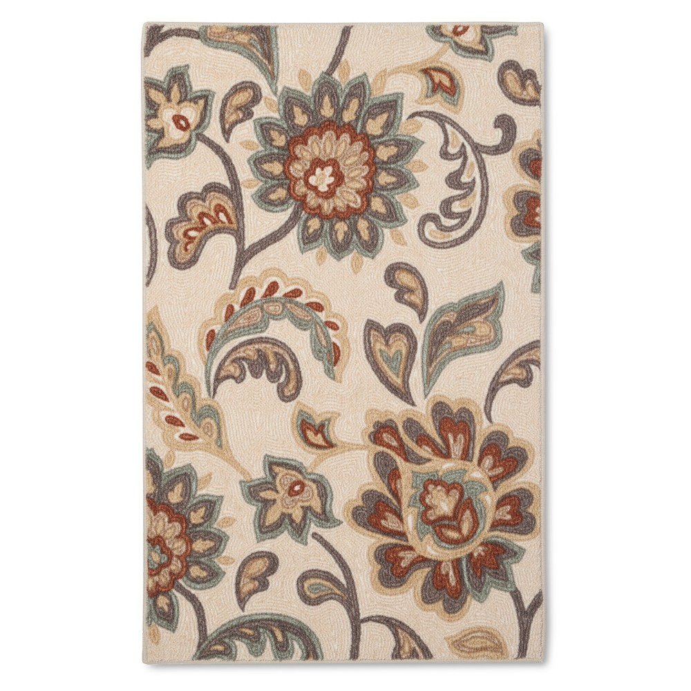 "Image of ""2'6""""X3'10""""/30""""X46"""" Paisley Floral Accent Rug Tan - Maples"""