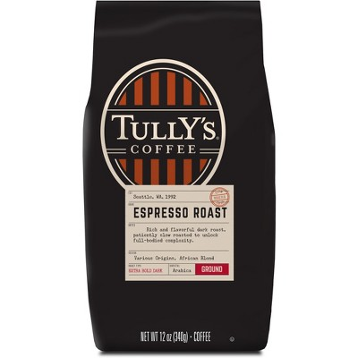 Tully's Coffee Espresso Roast Ground Coffee - Dark Roast - 12oz