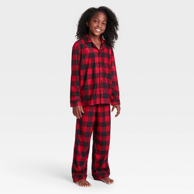 Kids' Holiday Buffalo Check Flannel Matching Family Pajama Set - Wondershop™ Red