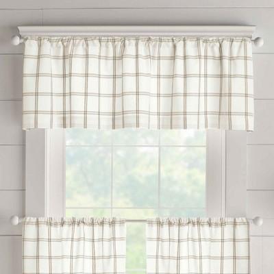 Farmhouse Living Double Windowpane Plaid Valance - Elrene Home Fashions
