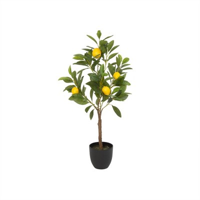 "29"" Artificial Lemon Tree in Black Pot Green/Yellow - Gerson International"