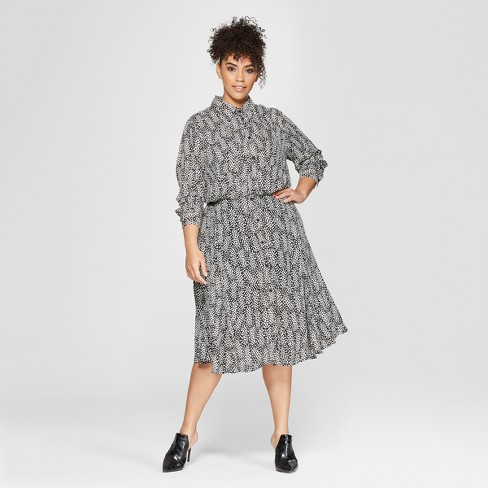 Women's Plus Size Striped Convertible Sleeve Midi Shirt Dress - Who What Wear™ - image 1 of 3