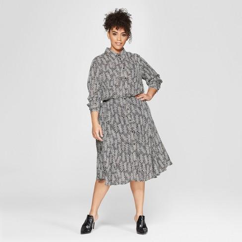 Women\'s Plus Size Polka Dot Convertible Sleeve Midi Shirtdress - Who ...