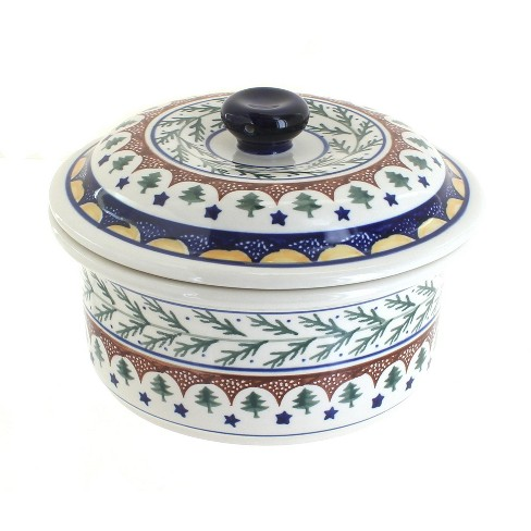 Blue Rose Polish Pottery Evergreen Round Baker with Lid - image 1 of 1