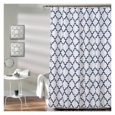 Lush Decor Geometric Shower Curtain Navy