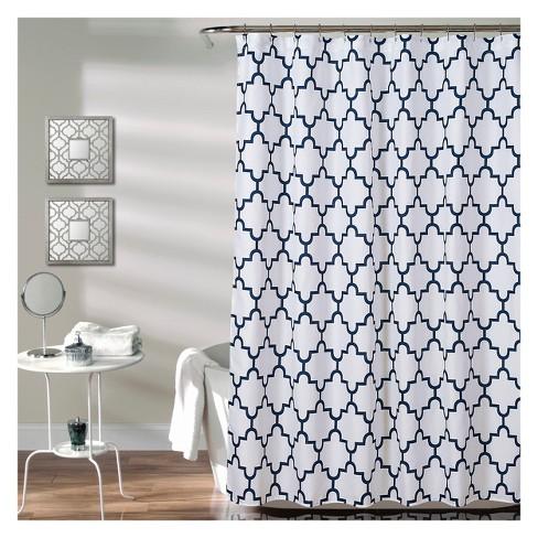 Lush Decor Geometric Shower Curtain Navy Target