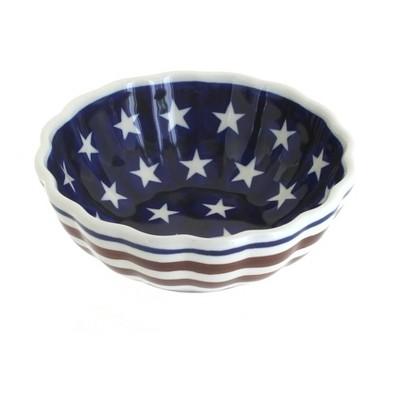 Blue Rose Polish Pottery Stars & Stripes Small Scallop Serving Dish