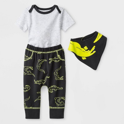 Baby Boys' 3pc Alligator Bib Top and Bottom Set - Cat & Jack™ Gray/Green Newborn