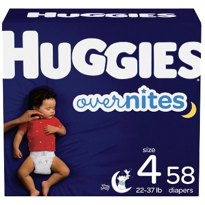 Huggies Overnites Nighttime Diapers Super Pack - Size 4 (58ct)