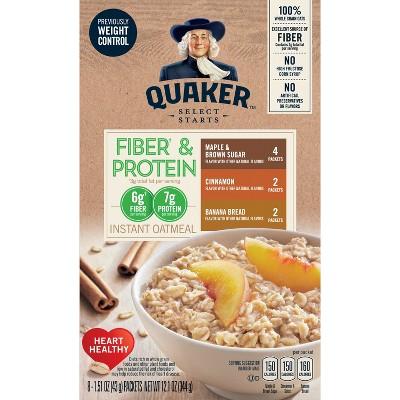 Oatmeal: Quaker Instant Fiber & Protein