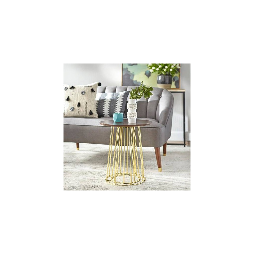 Image of Yvonne Side Table Walnut/Gold - angelo : Home