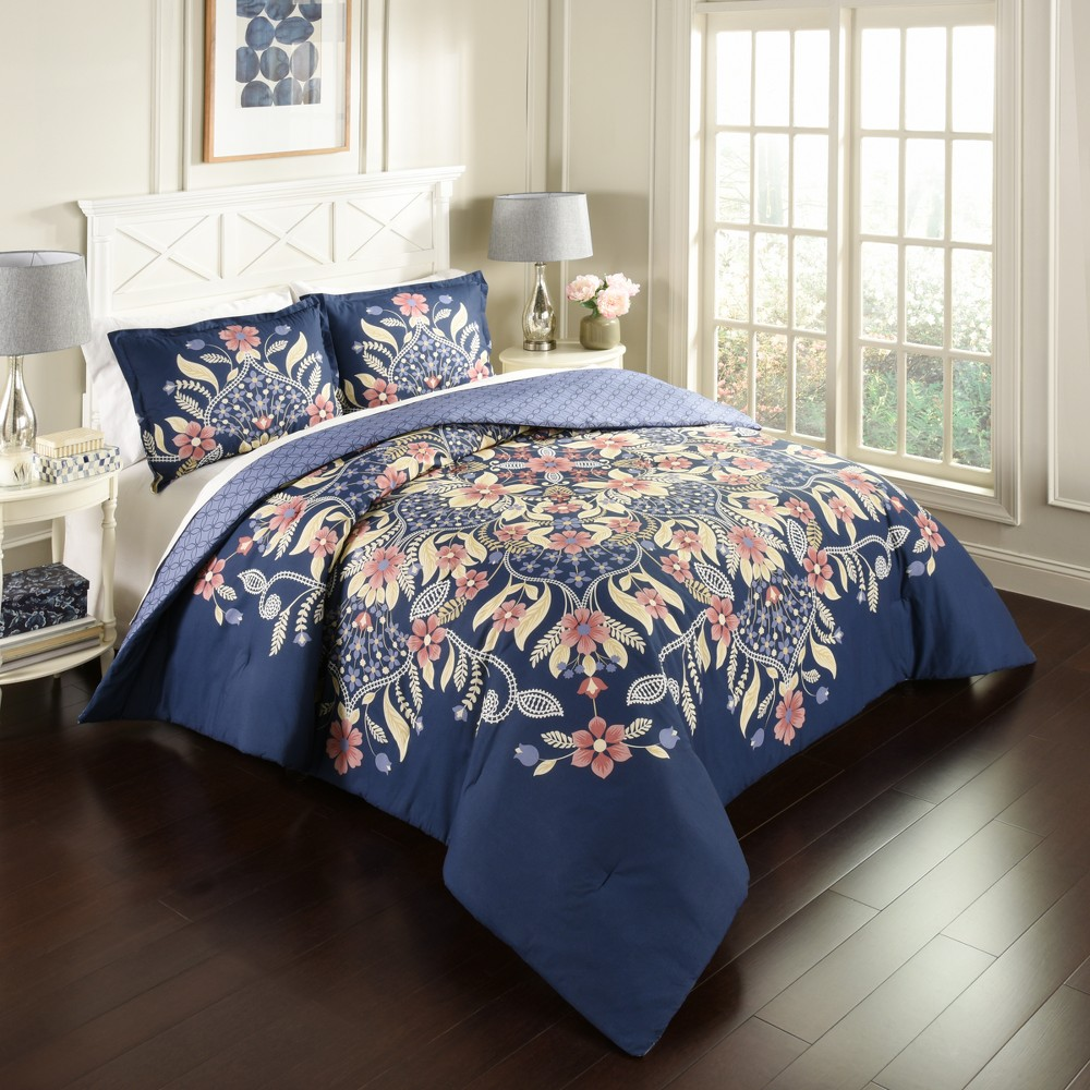 Image of Floral Fantasy Reversible Comforter Set (King) - Marble Hill, Multicolored