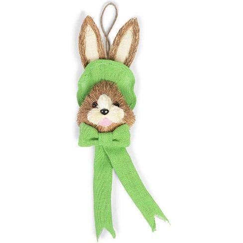 Juvale Easter Bunny Head with Green Necktie Hanging Ornaments for Wall & Home Decoration, 12 x 5 x 3.5 inches - image 1 of 4