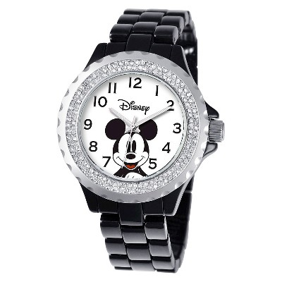 Women's Disney Mickey Mouse Enamel Sparkle Watch - Black