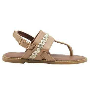 Rampage Girls' Big Kid Slip-On Thong Sandals with Braided Metallic Strap and Welt Details