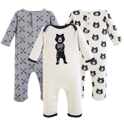 Yoga Sprout Baby Boy Cotton Coveralls 3pk, Bear Hugs