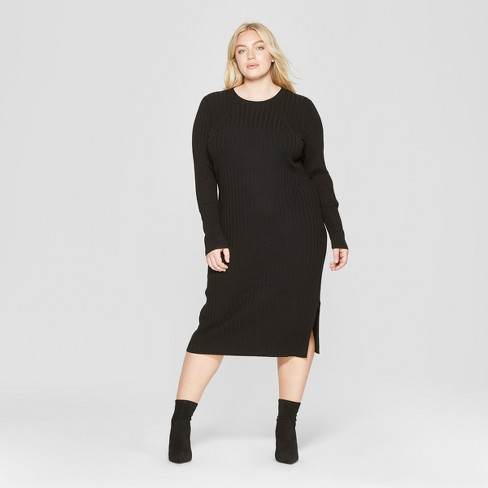 Women\'s Plus Size Long Sleeve Ribbed Midi Sweater Dress - Prologue ...